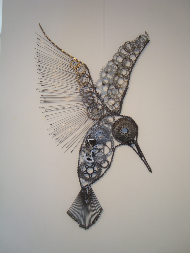 Kingfisher made from old bike parts.